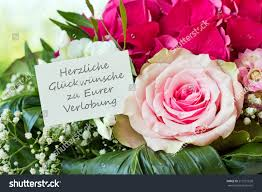 Congratulations On Your Engagement Card German Engagement Card Pink Flowerscongratulations On Stock Photo