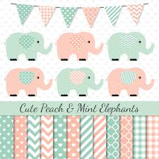 elephant clipart pink mint elephant clip art pink peach mint