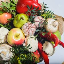 bouquet of fruits autumn bouquet of fresh fruits vegetables and mushrooms as