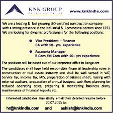 good resume for accounts manager job in bangalore railway jobs in knk group vacancies in knk group opportunities at knk