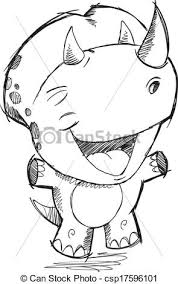 vector clipart of triceratops dinosaur sketch drawing vector