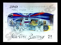 porsche cartoon drawing porsche 917 l martini racing 1971 original drawing by sébastien