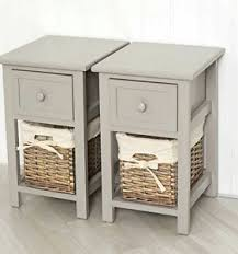 set of 2 bedside tables pair side cabinet shabby chic unit narrow
