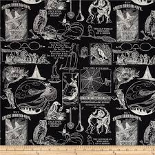 vintage halloween fabrics sew scary small halloween motifs black discount designer fabric