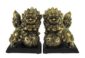 foo dog bookends antique gold finish lion foo dog bookends set of 2 walmart