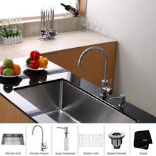 stainless steel kitchen sink combination kraususa com kraus 32 inch undermount single bowl 16 gauge stainless steel kitchen sink with kitchen bar faucet