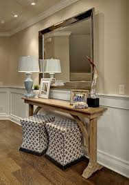 Upholstered Console Table Entry Hall Decor Entry Traditional With Ottomans Under Console