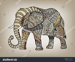 tribal ethnic elephant floral geometric ornaments stock vector
