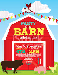 cute barn and farm animal party invitation design template stock