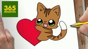 imágenes de gatos fáciles para dibujar como dibujar gato y corazon kawaii paso a paso dibujos kawaii