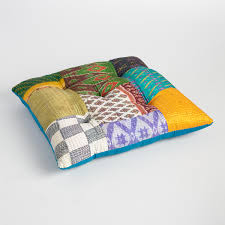 pillows embroidered sari patchwork floor cushion square shape
