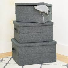 bigso grey soft storage boxes with handles the container store
