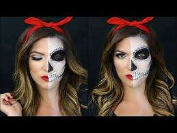 find this pin and more on you re beautiful cool half skull half pin up makeup tutorial