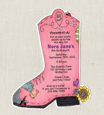 personalized horseshoe set pink boot birthday party personalized invitations