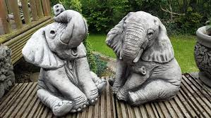 onefold elephants pair cast garden ornament