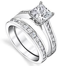 engagement rings silver images Sterling silver princess cut bridal set engagement jpg