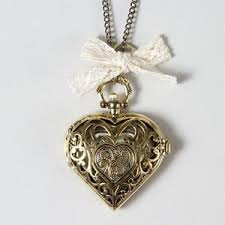 heart lock pendant necklace images Filigree heart locket pendant necklace with bow claire 39 s polyvore out=j