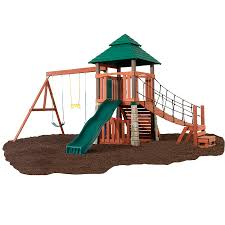 Lowes Backyard Ideas by Shop Swing N Slide Sherwood Palace Residential Wood Playset At