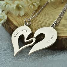 personalized name necklace silver images Breakable heart necklace set for couple personalized name necklace jpg