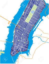 Map Manhattan New York City Lower And Mid Manhattan Vector Map Dark Blue