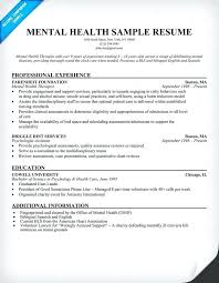 sample resume mental health counselor mental health resume example