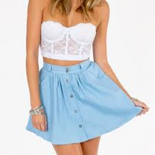 light blue skater skirt tobi dresses skirts light blue button front skater skirt poshmark