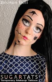 broken doll set of temporary tattoos that are makeup aids to create