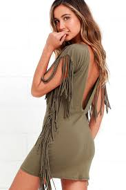 rhyme and reason olive green backless fringe dress generous