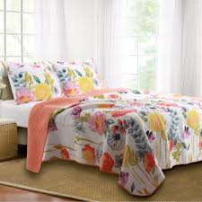 Quilted Rugs Watercolor Dream Cotton Floral Quilt Set