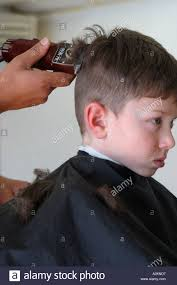 hair model boy young boy getting hair cut model released stock photo royalty