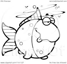 cartoon clipart of a black and white drunk goldfish vector