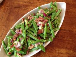 sugar snap pea salad with pancetta and pecorino pg 106 of how easy