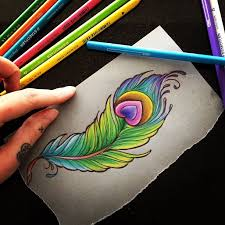 nice colorful peacock feather tattoo design