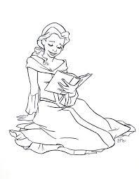 princess reading book clip art princess belle coloring pages