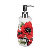 Red Rose Bathroom Accessories Red Oriental Poppy Porcelain Soap Dispenser Jpg