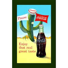 Coca Cola Patio Umbrella by Trademark Global Coca Cola Coke Pause Cactus Stretched Canvas