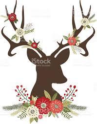 christmas deer antlers with flowers stock vector art 486109126