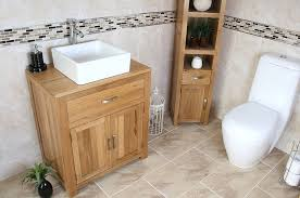 Square Sink Vanity Unit White Ceramic Bathroom Wash Basin On Solid Oak Top Bathroom Vanity