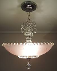 Mary Beth Pink Chandelier Vintage Art Deco Pink Square Starburst Glass Ceiling Light Fixture