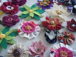 Fabric Flowers Fabric Recycled Flowers Upcycle Art