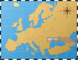 Europe Map by Europe Map With Compass Rose Vector Art Getty Images