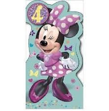 minnie mouse look who u0027s 4 4th birthday card u0026 badge new gift