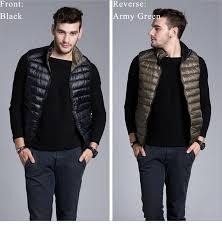 Plus Size Down Coats New Fashion Men Brand Ultra Light Reversible Down Jacket Travel