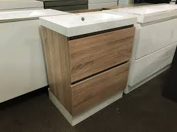 Narrow Bathroom Vanities by Astra Slimline 750mm White Oak Timber Wood Grain Narrow Bathroom
