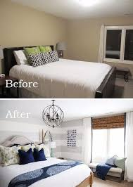Decorating Ideas For Small Bedrooms Use Large Gray Horizontal Stripes To Visually Elongate The Wall