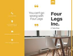 yellow modern furniture tri fold brochure templates by canva