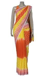 arong saree yellow and orange tie dye and printed cotton saree