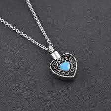 cheap cremation vintage cremation urn blue heart pendant necklace cheap
