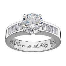 engagement rings with baguettes 4 96ctw brilliant and baguette cz engraved sterling silver