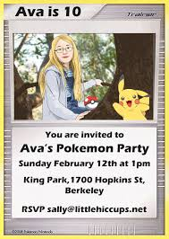 little hiccups pokémon party invitations